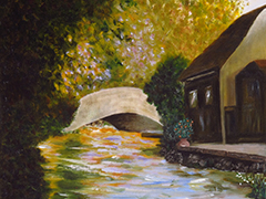 """Cottage by the river""  Huile sur carton toilé  30cm x 40cm"