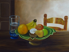 """Coupe de fruits"" oil on canvas  55cm x 38cm"